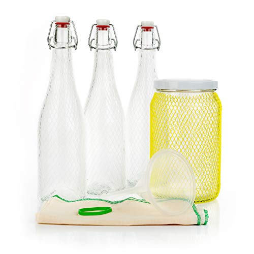 myFERMENTS Probiotic Drinks Making Kit – Kombucha, Kefir, Beer – Contains Large Glass Jar (2L), 6 Glass Bottles with Airtight Closure 750 ml, Funnel and Muslin