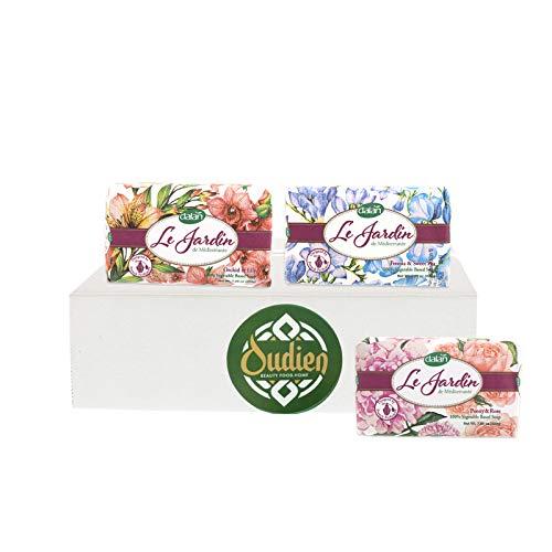 OUDIEN Set aus 3x Le Jardin Seifen je 200g, Duschseife Fresia & Sweet Pea, Orchide & Lily, Peony & Rose, Handseife mit frischem Blumenduft, vegane Naturseife