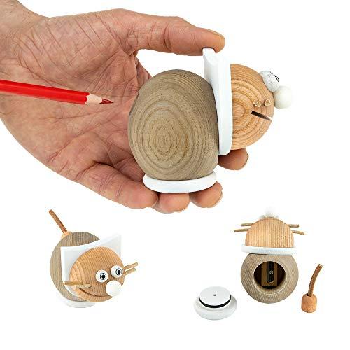 Anspitzer mit Behälter für Kinder - Bleistiftspitzer in lustigen Tiermotiven - perfekt für den Buntstift& Bleistift - Von Trihorse & Janoschik (Katze, Weiß)