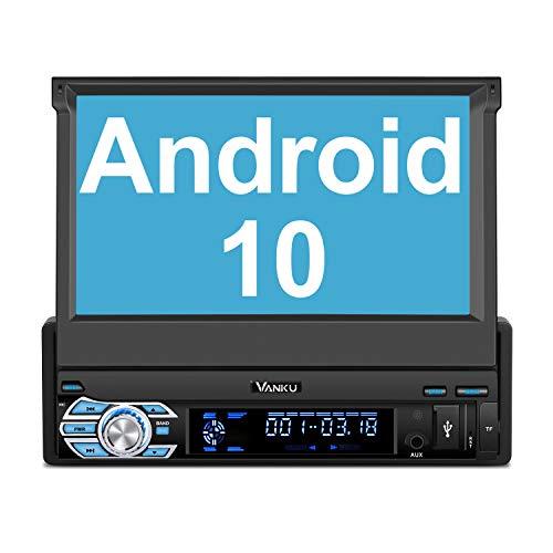 Vanku 1Din Android 10 Autoradio Radio mit Navi Ausfahrbares Bildschirm Unterstützt Bluetooth Eingebauter DSP DAB+ Android Auto WiFi 4G USB MicroSD 7 Zoll Universal