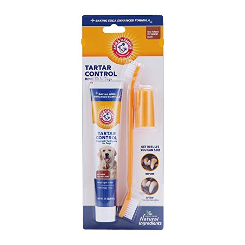 Arm & Hammer for Pets Tartar Control Kit for Dogs | Contains Toothpaste, Toothbrush & Fingerbrush | Reduces Plaque & Tartar Buildup | Safe for Puppies, 3-Piece Kit, Beef Flavor