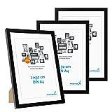 Lot de 3 Cadres 21x30 cm / A4 Moderne Noir en MDF avec vitre en Acrylique Comprenant Accessoires/Collage de Photos/galerie d'images/Multi Cadre Photo Mural