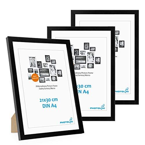 PHOTOLINI 3er Set Bilderrahmen 21x30 cm DIN A4 Modern Schwarz aus MDF mit Acrylglas/Portraitrahmen/Wechselrahmen