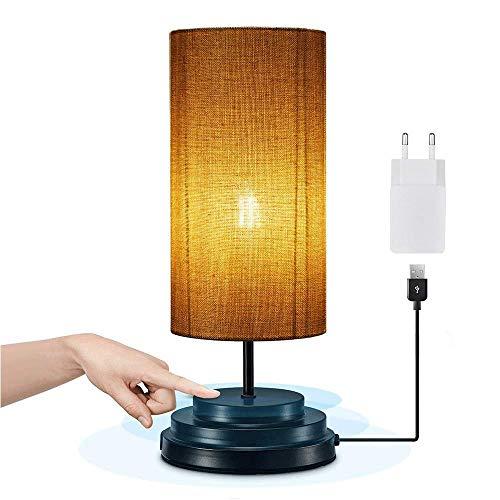 Bonlux Dimmable 4w 5v Usb Led Lampe De Chevet Tactile E27 Standard Lampe De Table Abat Jour En Tissu Design Ronde Vintage Ambiance Lampe Pour Chambre