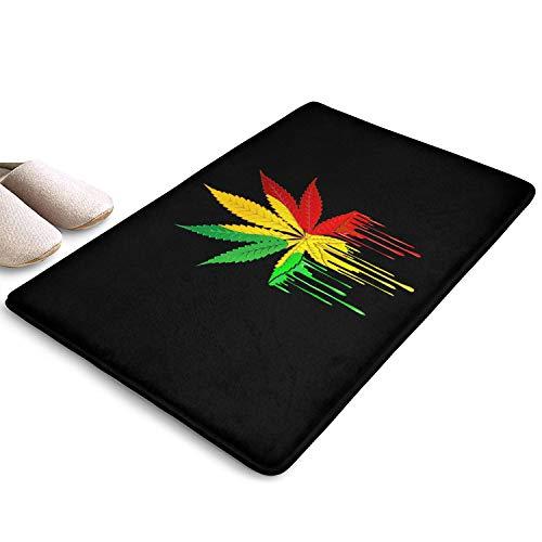 Marijuana Leaf Weed Cannabis Rasta Colors Dripping Paint Magic Doormat Hallway Absorbs Mud Doormat,No Odor,Cotton…