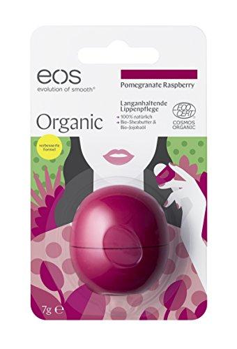 eos Organic Lip Balm Pomegranate Raspberry, natürliche Lippenpflege, Lippenbalsam mit Jojoba-Öl, feuchtigkeitsspendende Pflege, Naturkosmetik, 1 x 7 g