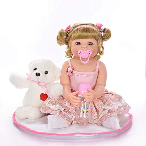 DAMAI STORE 22-Zoll-All-Silikon 55CM Simulation Mädchen Spielzeug Dekoration (Color : Brown)