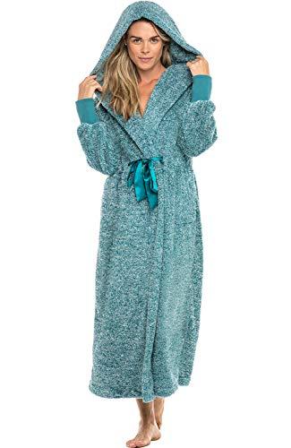 Alexander Del Rossa Women's Plush Fleece Robe with Hood, Long Warm Bathrobe, Small-Medium Two Tone Ocean Depth Green with Elastic Cuffs (A0269CODMD)