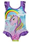 New front Traje de Baño Unicornio de Una Pieza para Niñas Bañador Pony...