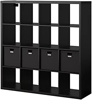 Ikea Shelf unit with 4 inserts, black-brown 20205.11217.3814