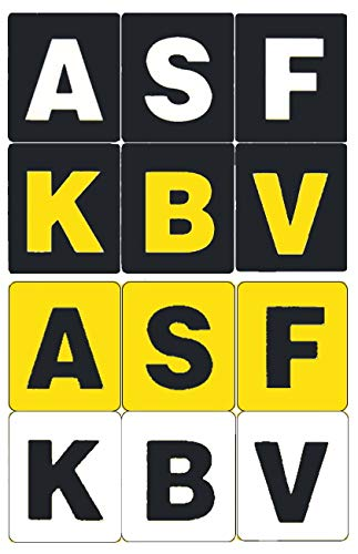 [4 Sheets] Beam n Read Extra Bold, Large Print Keyboard Stickers for PC & Mac: 4 High Contrast Color Combinations (109 Key Labels Sheet)