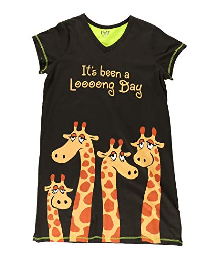 Lazy One V-Neck Nightshirts for Women, Animal Designs (Long Day, S/M)