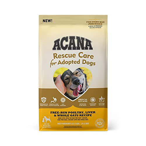 ACANA Rescue Care For Adopted Dogs, Free-Run Poultry, Liver & Whole Oats Recipe, 22.5lb | Premium Dry Dog Food