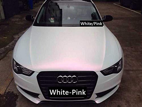 3D Perlmutt Effekt Folie Weiß >Pink mit Luftkanal 1,52m Car Wrapping Farbwechsel 0,5m x 1,52m