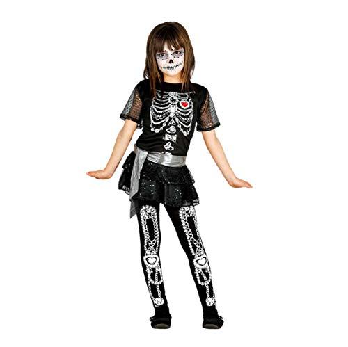 Guirca Bambi GU_85810 Costume de Squelette pour Fille 7/9 Ans Noir
