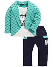 Hopscotch Boys Poly Cotton Text Print Full Sleeves Jacket and Pant Set in Multi Color
