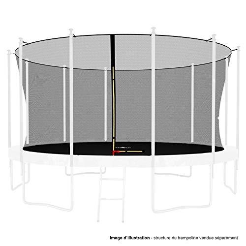 Red interior de seguridad y protección universal para cama elástica de 185 cm de diámetro, 244 cm de diámetro, 305 cm de diámetro, 366 cm de diámetro, 400 cm de diámetro, 424 cm de diámetro, con tapones altos de varillas y cordel, Negro , 14FT - 427CM
