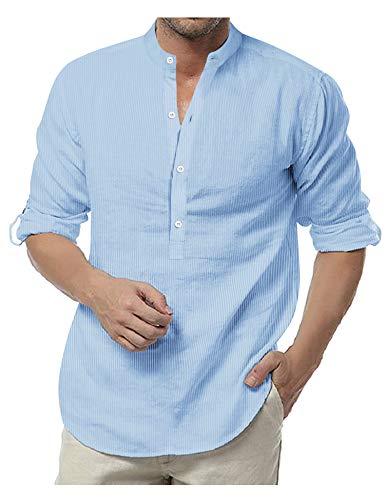 COOFANDY Gestreiftes Hemd Herren Langarm Ohne Kragen mit Brusttasche Kontrast Freizeit Bügelleichte Hemden für Männer Hell Blau M