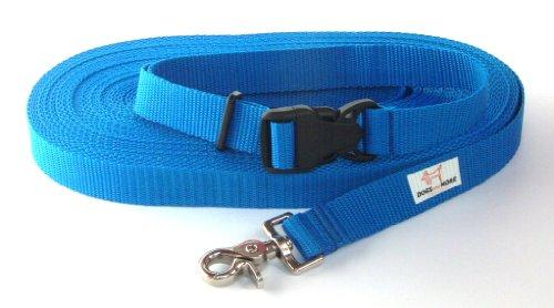 DOGS and MORE - Schleppleine mit LÖSBARER Handschlaufe - Basis 20 Meter (Blau; 25 mm breit) / Suchleine/Feldleine