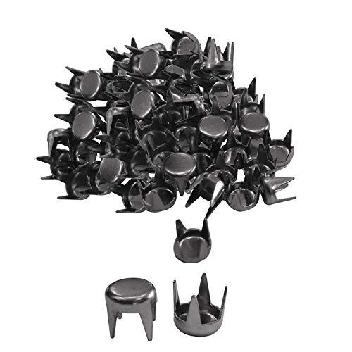 Trimming Shop Rundes Eisen, flacher runder Nagelkopf, Punk-Ohrstecker, dekoratives Zubehör für Geldbörsen, Lederjacken, Kleidungsdekoration, DIY Handwerk Verzierung (6 mm, Gunmetal, 100 Stück)