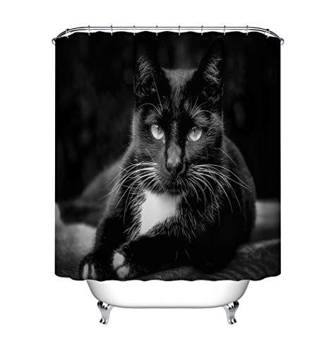 ZZZdz De dieren versieren de katten zwart - tent - douchegordijn - accessoires voor de badkamer - 180 x 180 cm - 3D-druk HD - waterdicht - geen afbladderen