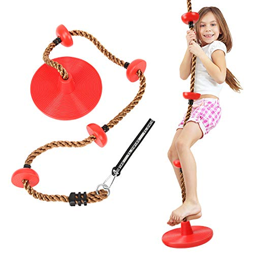 MoKo Swing Climbing Rope for Kids, 6.5ft Climbing Rope with Platforms Disc Swing Rope with Tree Strap & Carabiner Swing Sets for Backyard Outdoor Disk Seat for Swingset Play & Swing Sets for Kids, Red