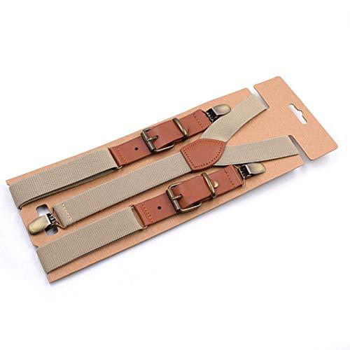 DYDONGWL Suspenders/Vintage Mannen Suspenders 3 Clip Strap Braces voor Broeken Pu Lederen Suspenders Mannen Broek Bruin 115cm Braces Mannen