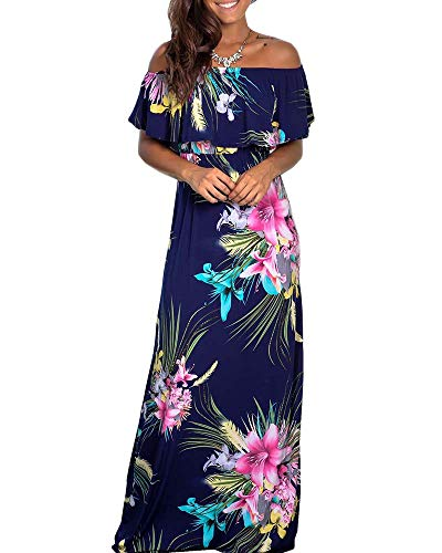Womens Floral Off The Shoulder Dresses Summer Casual Ruffle High Waist Slit Long Maxi Dress with Pockets (Small, 4-Navy)