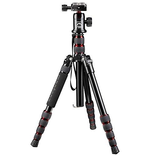 Mantona DSLM Reisestativ für System/DSLR/Kompaktkamera (143 cm, Kugelkopf, Belastbarkeit: 5kg, drehbare Mittelsäule, kompaktes Packmaß) rot