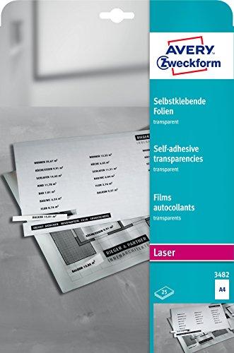 AVERY Zweckform 3482 Transparente Folien für Laserdrucker und Kopierer (25 selbstklebende Folien, A4, mattierte Oberfläche, hervorragend bezeichenbar, stapelverarbeitbar, Folienstärke 0,14mm)
