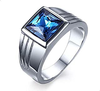 Unisex Silver Ring with Blue Stone Size 9