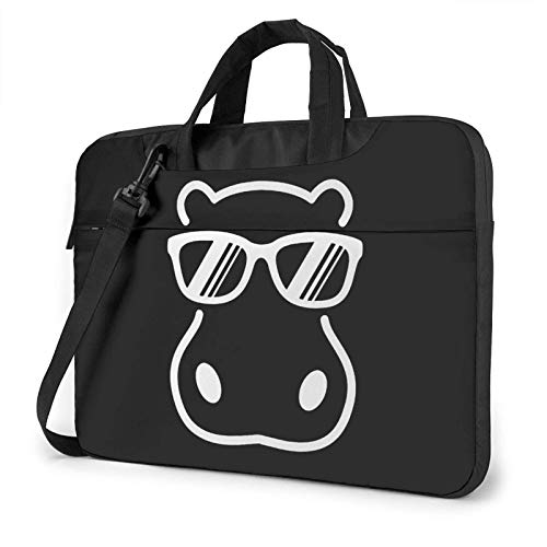 15.6 inch Laptop Shoulder Briefcase Messenger Hippopotamus Wearing Sunglasses Tablet Bussiness Carrying Handbag Case Sleeve