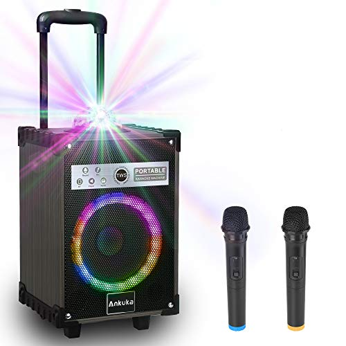 Karaoke Machine for Adults and Kids, Ankuka Bluetooth Portable PA Speaker System with Disco Lights, 2 Wireless Microphones for Christmas & Birthday Gift for Boys & Girls