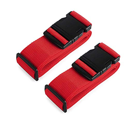AVESON Pack of 2 Luggage Straps, 200cm Long Adjustable Luggage Strap Belts Travel Bag Accessories for 20'-32' Suitcase, Red