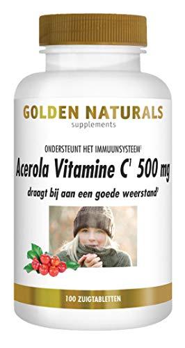 Golden Naturals Acerola Vitamine C 500 mg (100 veganistische zuigtabletten)