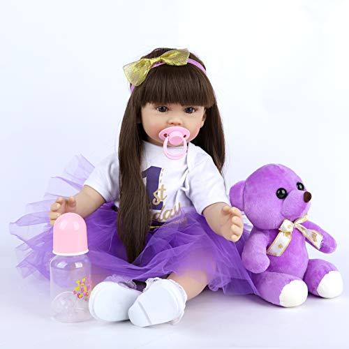 Real Life Reborn Baby Dolls Girls 24 Inch 60 Cm Realistic Reborn Baby Doll Vinyl Material Dolls Real Handmade Gift Lifelike Newborn Baby Doll Toys