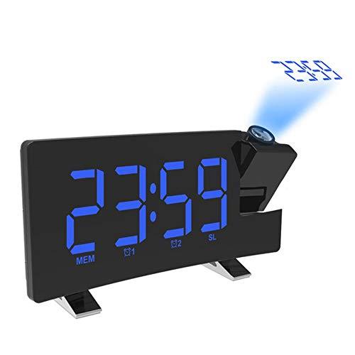 LWLJCFFF Reloj Despertador de proyección Pantalla de Techo Digital Proyector de 180 Grados Dimmer Radio Batería, Cuerpo Negro Palabra Azul, China