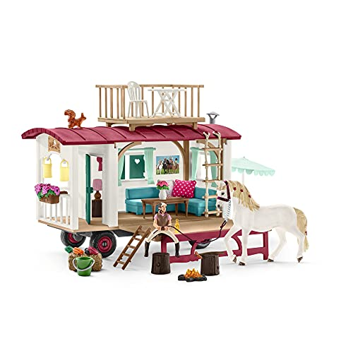 Schleich Horse Club, 43-Piece Playset, Horse Toys for Girls and Boys 5-12 years old Camper for Secret Club Meetings