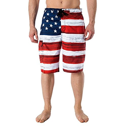 PASATO Hot Classic Casual Men's Pants,American Flag Printed Independence Day Inspiration Board Denim Shorts(Red, M)