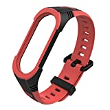 Replacement Waterproof Smart Band for Xiaomi Mi Band 4/3, Breathable Sport TPU Wristbands Bracelet for Woman Men Ventilate Sport Soft Wristband,Multicolor,Red