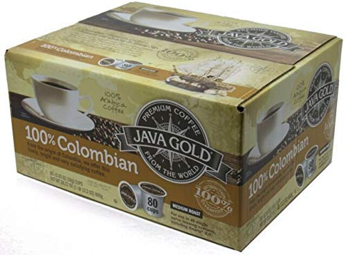 Java Gold 100% Colombian Medium Roast Coffee For Use in All Single Serve Brewing Systems-80ct