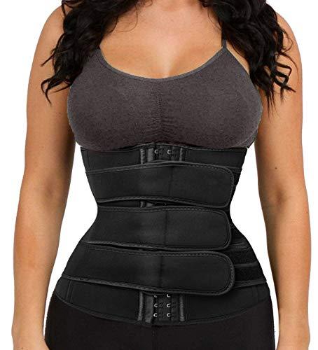 Women's Waist Trainer Weight Loss Corset Waist Cincher Trimmer Belt Body Shaper Slimming Sports Girdle Black