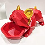 KKRIIS Creative Bulldog Candy Box Decoration Lucky Dog Creative Entrance Concealer Disk Door Shoe Cabinet Key Storage Box,Red