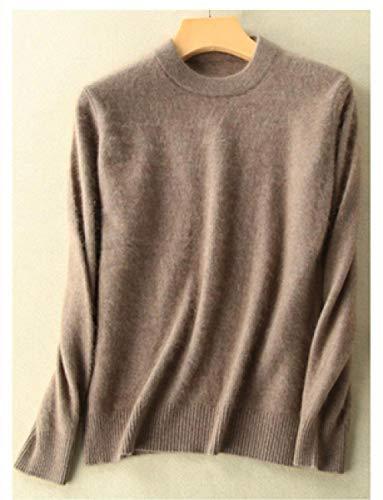 JFHGNJ Super Warm Pure Mink Cashmere Truien en Truien Vrouwen Herfst Winter Zachte Trui Half Coltrui Vrouwelijke Basic Pullovers-camel_XL