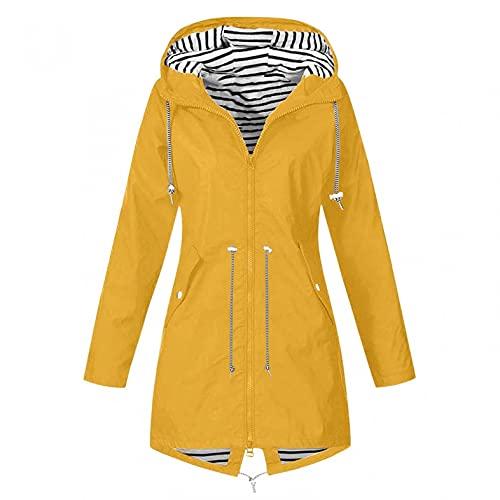 Chaqueta de mujer para exterior, monocolor, longitud media, con capucha, impermeable y cortavientos, chaqueta de entretiempo para senderismo, transpirable, tallas S-3XL, dorado, M, Parka