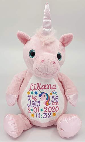 Peluche - licorne rose, personnaliser avec broderie, cadeau pour naissance, baptême, fêtes, Noël, brodé, personnalisé, doudou prénom