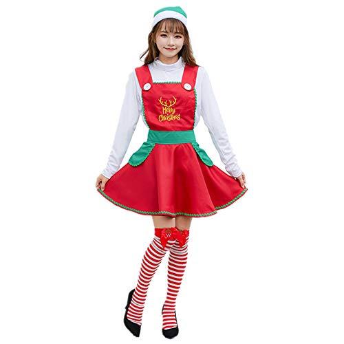 ZXLIFE@@ Multifunctionele Kerst Koken Apron, Santa Suit Kerstmis, Kerstman Kostuum Vrouwen, Maak Kerst Sfeer, voor Kerstmis/Cosplay en Party