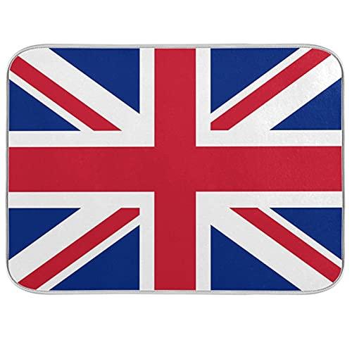 HMZXZ Alfombrilla de secado de platos de microfibra para mostrador de cocina, 40,6 x 45,7 cm, diseño de bandera británica, absorbente, para platos, escurridor, alfombrilla protectora