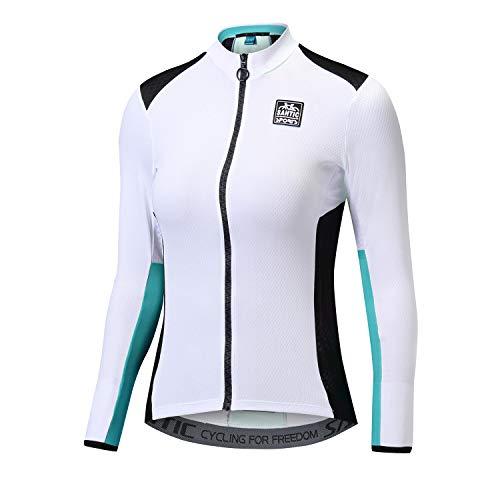Santic Fahrradtrikot Damen Langarm Radtrikot Damen Fahrradshirt/Radshirt/Bikeshirt MTB mit Taschen Blau M