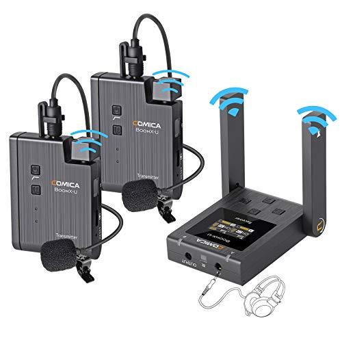 Comica BoomX U2 UHF Sistema Micrófono-Inalámbrico-Solapa-Corbata-DSLR, 48 Canales Micrófono Wireless para Cámara Reflex, Videocámara, Smartphone y Computador